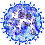 Elephant in blue grunge handmade watercolor background,cute  ill Stock Image