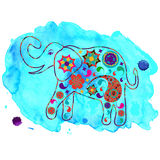 Elephant in blue watercolour backdrop for design fabrics, T-shir Stock Image