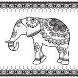 Elephant with border elements in ethnic mehndi style. Vector black and white illustration isolated on white background Royalty Free Stock Photo
