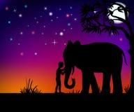 Elephant and boy. Boy hugging an elephant under a tree vector illustration Stock Photography