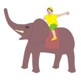 Boy rides an elephant stock illustration. Illustration of ...