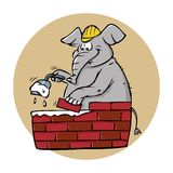 Elephant bricklayer Royalty Free Stock Photos