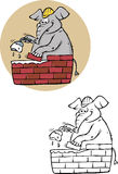 ELEPHANT BRICKLAYER coloring book Stock Image
