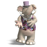 Elephant Bridegroom in tux. Toon elephant groom in tuxedo With Clipping Path over white stock illustration