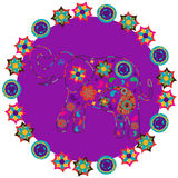 Elephant in bright purple backdrop for design fabrics, T-shirts, Royalty Free Stock Image