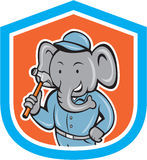 Elephant Builder Holding Hammer Crest Cartoon Royalty Free Stock Images