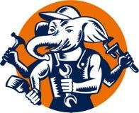 Elephant Builder Plumber Mechanic Painter Circle Retro Royalty Free Stock Image