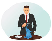 Elephant. Businessman looking through a magnifying glass at the elephant on a desk. Understated revenue and overstated expenses vector illustration