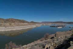 Elephant Butte lake vista. One of many views of Elephant Butte Lake in southwest New Mexico. The Lake's water level is very low at this point stock photos