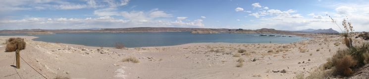 Elephant Butte panorama. True wide panorama of Elephant Butte Lake/Reservoir in southern New Mexico, with a marina on the right side and sandy beach in the Stock Images