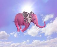 Elephant    butterfly flying in the sky. Stock Photos