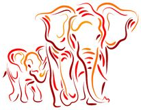 Elephant and calf. Isolated brush stroke drawing stock illustration