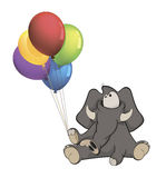 The elephant calf and birthday balloons. Cartoon Royalty Free Stock Photography