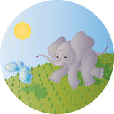 The elephant calf and the butterfly Stock Photo