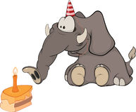 The elephant calf and a slice cake. Cartoo. Elephant in a cap for a holiday with a slice of a pie and a candle Royalty Free Stock Images