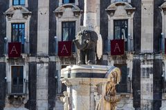 Catania, Sicily: the elephant sculpture on the main square. Stock Images