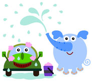 Elephant car wash. A funny illustration of a happy elephant washing a car Royalty Free Stock Image