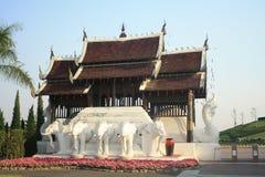 Elephant carrying the palace at Royal Flora palace Stock Photos
