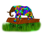 Elephant on a cart. Always striving to do better than others do Royalty Free Stock Image