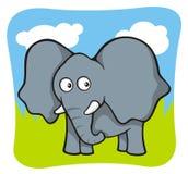 Elephant cartoon. Cute baby elephant cartoon on sky and grass background Royalty Free Illustration