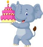 Elephant cartoon with birthday cake Stock Photos