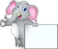 Elephant cartoon with blank sign Stock Images