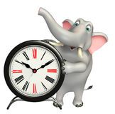 Elephant cartoon character with clock Stock Images