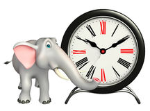 Elephant cartoon character with clock Royalty Free Stock Images