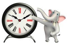 Elephant cartoon character with clock Stock Photography
