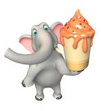 Elephant cartoon character with ice cream Stock Photos