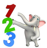 Elephant cartoon character with 123 sign. 3d rendered illustration of Elephant cartoon character with 123 sign royalty free illustration