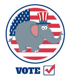 Elephant Cartoon Character With Uncle Sam Hat Over USA Flag Label And Text Stock Image