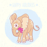 Elephant. Cartoon cute and beautiful elephant with ornament and flowers. Greeting card. Vector illustration Royalty Free Stock Images