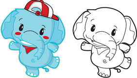 Elephant cartoon cute with a red hat.  Royalty Free Stock Photos