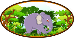 Elephant cartoon with forest background Royalty Free Stock Photos