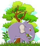 Elephant cartoon with forest background Royalty Free Stock Photography