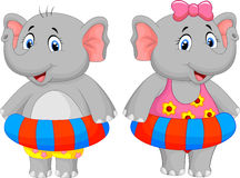 Elephant cartoon with inflatable ring Royalty Free Stock Images