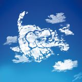 Elephant cartoon in the sky. Elephant cartoon  Logo abstract design with clouds in a beautiful sky Stock Images