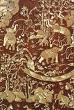 Elephant carved temple door. In Thailand Stock Photography