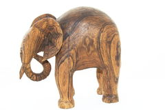 Elephant carved in wood royalty free stock images