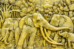 Elephant carves. Elephant carves in thai style royalty free stock image