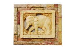 Elephant ceramic. Wall on white background Royalty Free Stock Photography