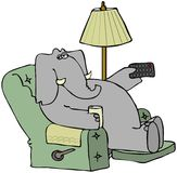 Elephant In A Chair With A Remote Royalty Free Stock Photography
