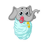 Elephant. Character. The baby is wrapped with a pacifier in his mouth. Big collection of isolated elephants. Vector, cartoon. Stock Photo