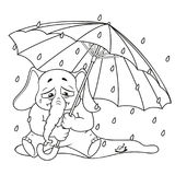 Elephant. Character. Crying under an umbrella, autumn, rain. Big collection of isolated elephants. Vector, cartoon. Royalty Free Stock Photos