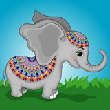 Elephant Character Dressed Up Circular Ornament Royalty Free Stock Photos