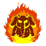Elephant. Character. The evil red horns, fire. Devil. Big collection of isolated elephants. Vector, cartoon. Stock Image