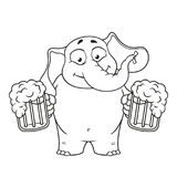 Elephant. Character. He holds a mug of beer and offers a drink. Big collection of isolated elephants. Vector, cartoon Stock Images