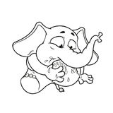 Elephant. Character. My foot in my mouth. Big collection of isolated elephants. Vector, cartoon. Stock Image