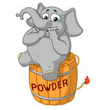 Elephant. Character. Nervous, sitting on a powder keg. Lit the wick. Big collection of isolated elephants. Vector, cartoon. Elephant cute Nick. Elephant Stock Photography